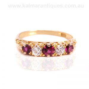 18 carat yellow gold antique ruby and diamond ring