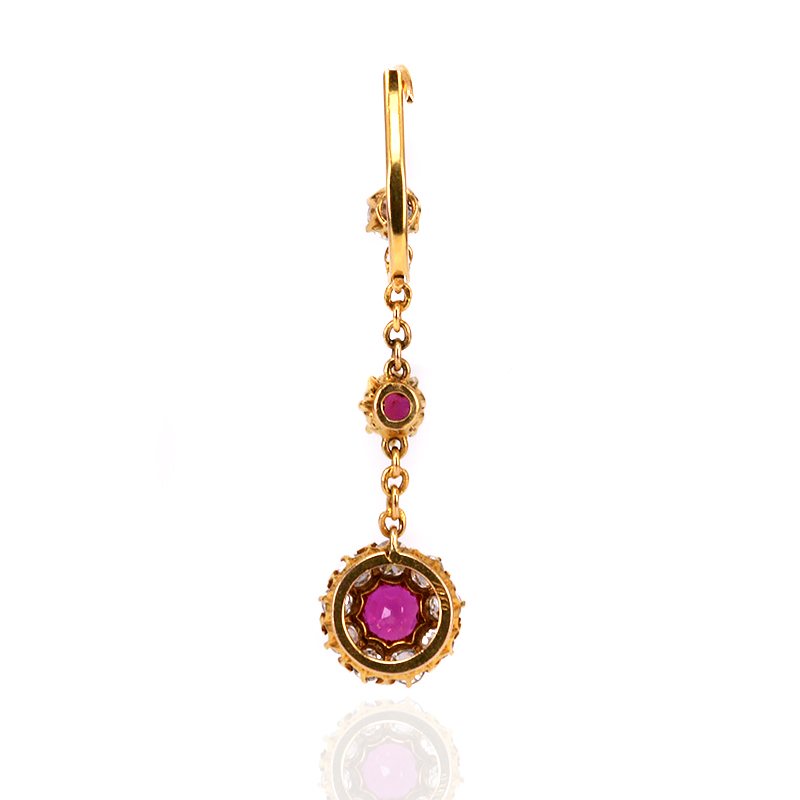 Antique 18ct yellow gold ruby and diamond drop earrings