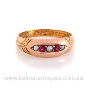 15ct gold antique ruby and pearl ring