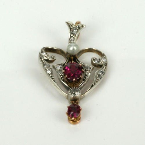 Antique ruby, diamond and pearl pendant