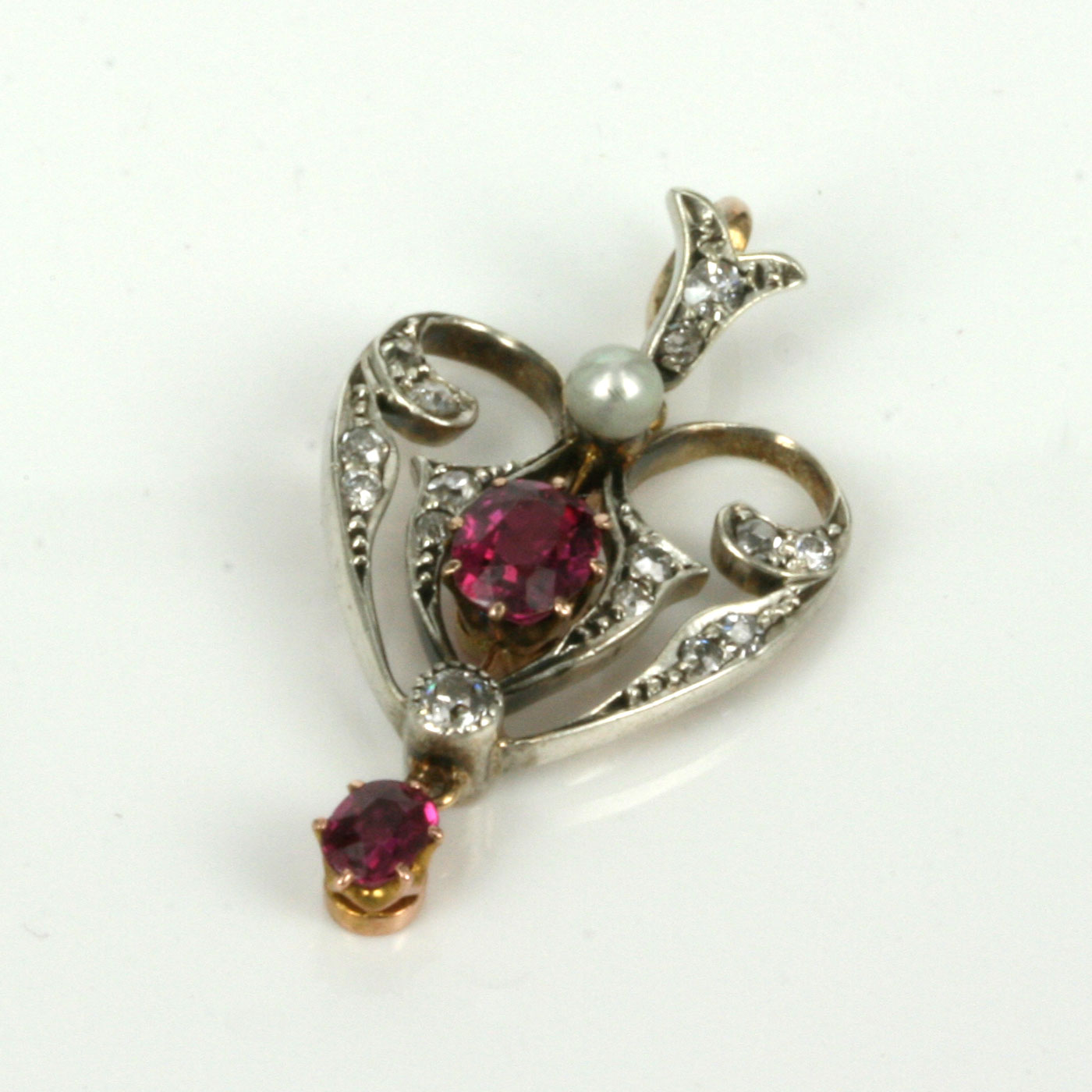 Buy Antique ruby, diamond and pearl pendant Sold Items ...