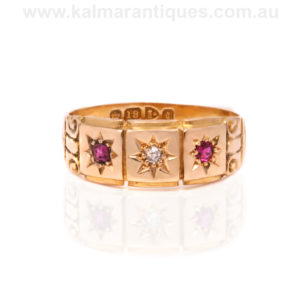 Edwardian antique ruby and diamond ring made in 1903