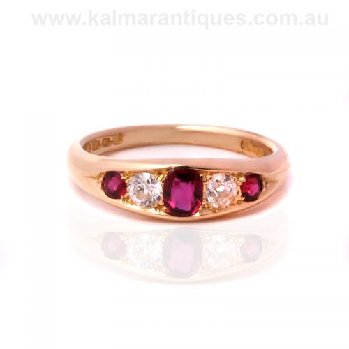 Antique ruby and diamond ring made in 1905