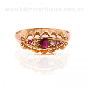 18ct gold antique ruby and diamond ring made in 1916