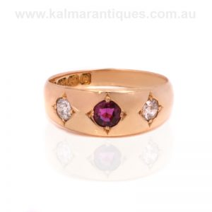 18ct carat gold antique ruby and diamond ring made in 1904