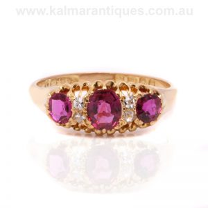 Antique ruby and diamond ring made in 1899
