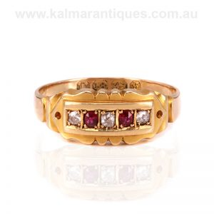 Antique ruby and diamond ring made in 1892
