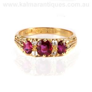 Edwardian era antique ruby and diamond ring