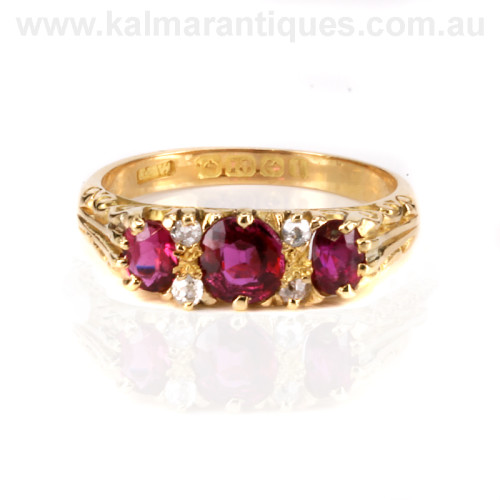 Edwardian era antique ruby and diamond ring
