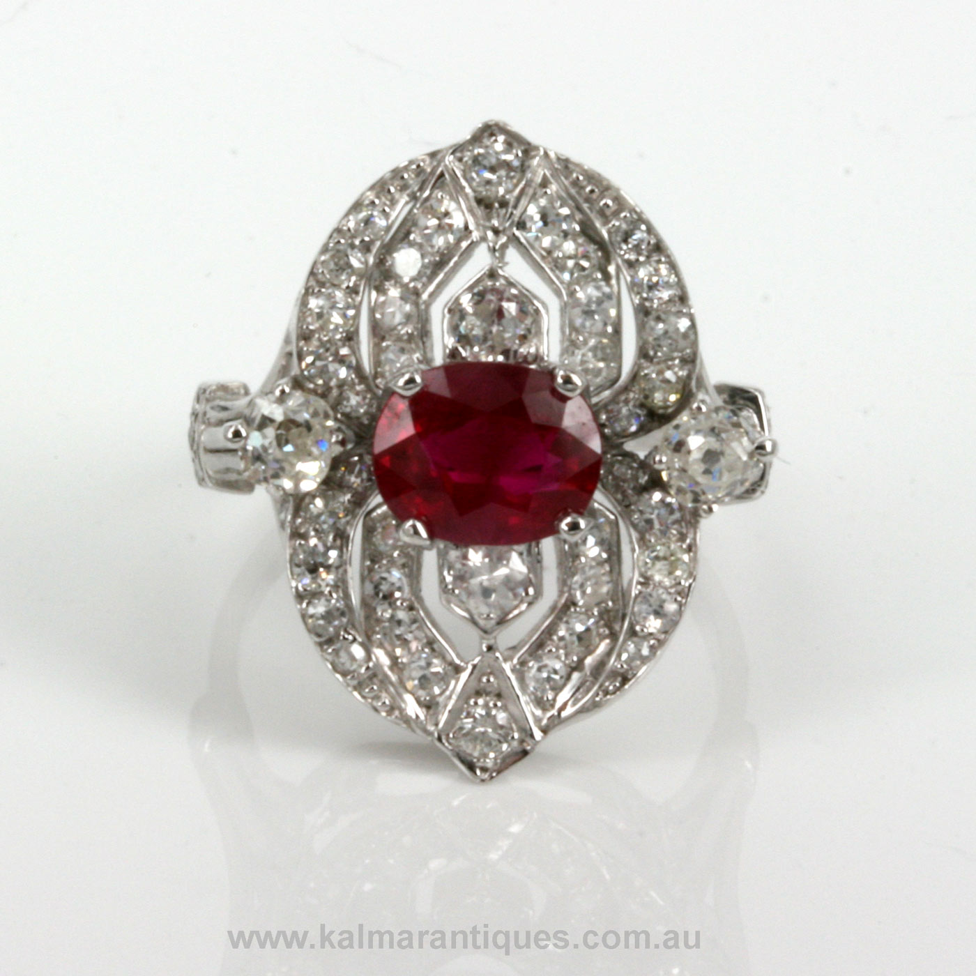platinum antique ruby and ring
