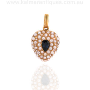 Antique sapphire and pearl locket