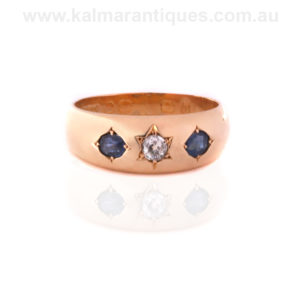 Antique sapphire and diamond ring made in 1888