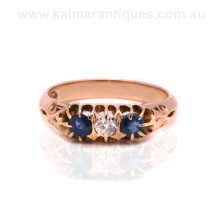 Antique sapphire and diamond ring in 15ct rose gold