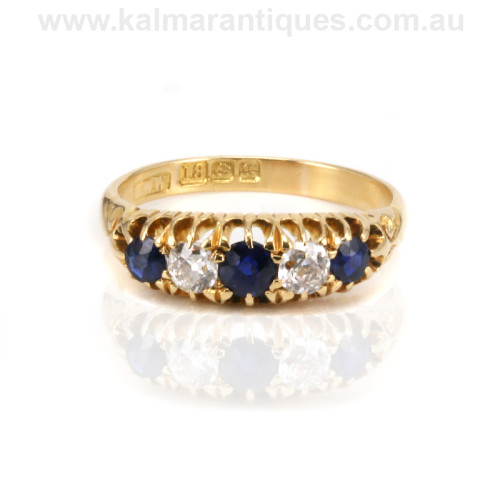 Antique sapphire and diamond engagement ring