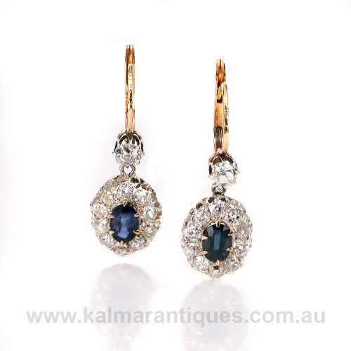 Antique sapphire and diamond cluster earrings