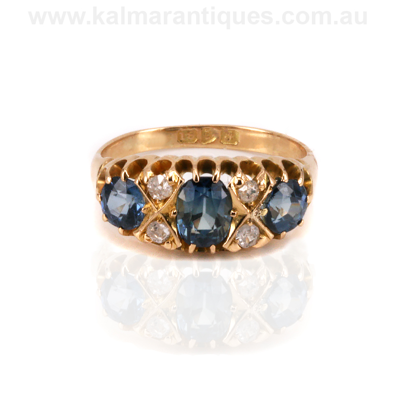 Antique sapphire and diamond engagement ring made in 1909
