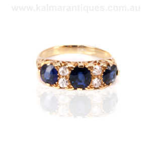 Antique sapphire and diamond engagement ring Sydney
