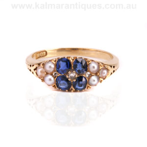 Antique sapphire pearl and diamond ring