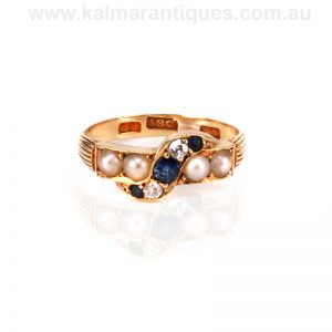 18ct gold antique sapphire, pearl and diamond ring