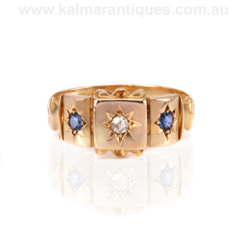 18ct antique sapphire and diamond ring made in 1901