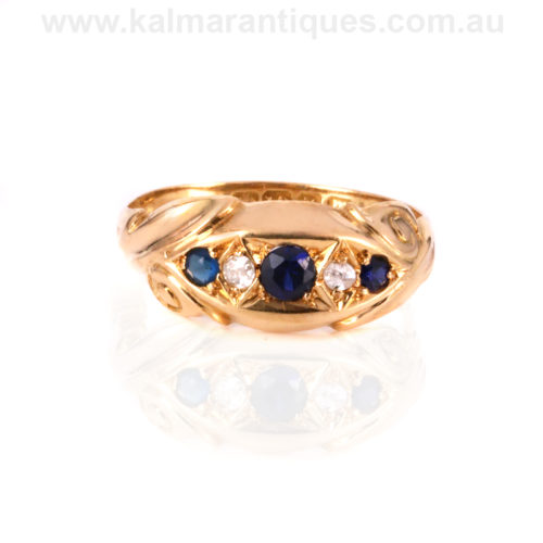 18ct antique sapphire and diamond ring made in 1911