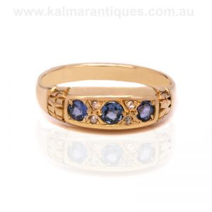 Antique sapphire and diamond ring made in the early 1900's