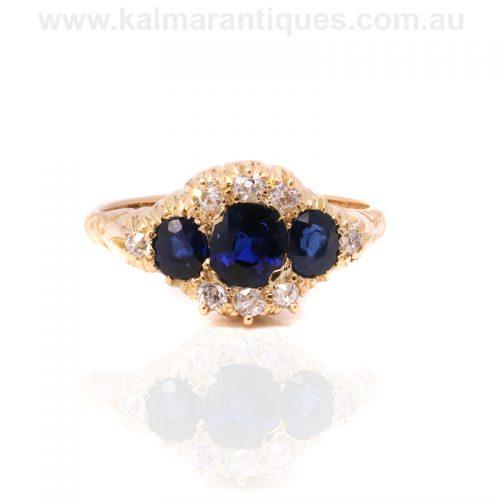 Elegant Victorian era antique sapphire and diamond ring