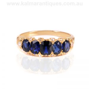 Exquisite antique sapphire and diamond ring of the highest quality