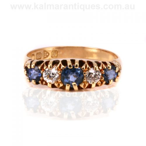 Antique sapphire and diamond ring made in 1913