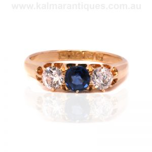 Antique sapphire and diamond engagement ring made in 1901