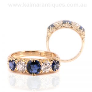 Antique sapphire and diamond ring from the Victorian era