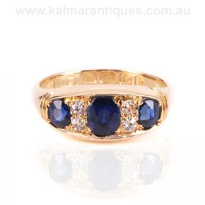 Antique sapphire and diamond ring made in 1901