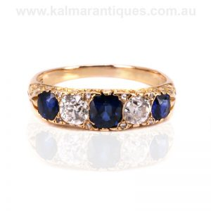 Antique sapphire and diamond engagement ring dating from the 1890's