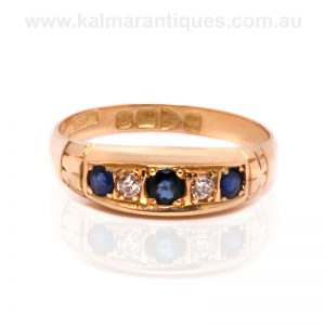 Antique sapphire and diamond ring made in 1916