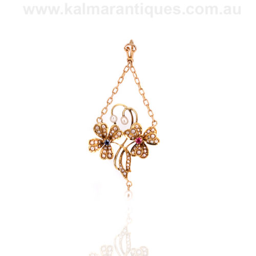 Antique sapphire pearl and ruby pendant in 15ct gold. Antique pendant Sydney