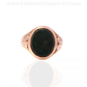 Antique 15ct gold bloodstone signet ring made in 1900