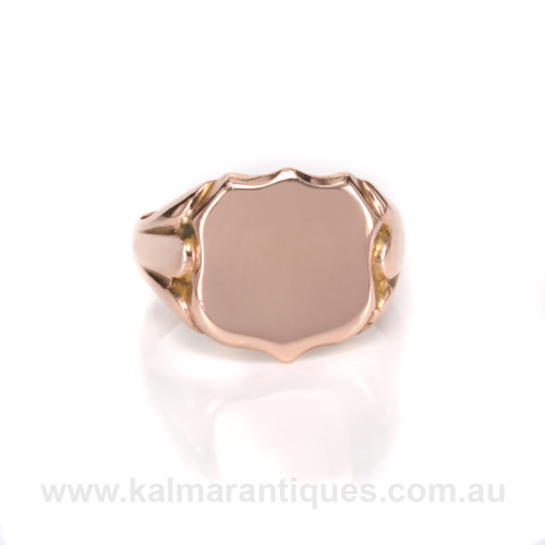 Antique rose gold signet ring made in 1909