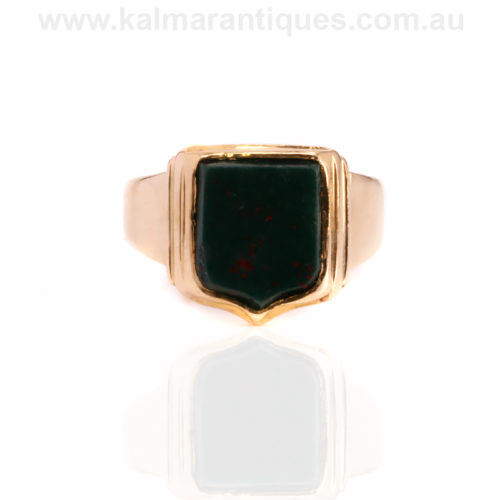 18ct gold antique bloodstone signet ring made in 1888