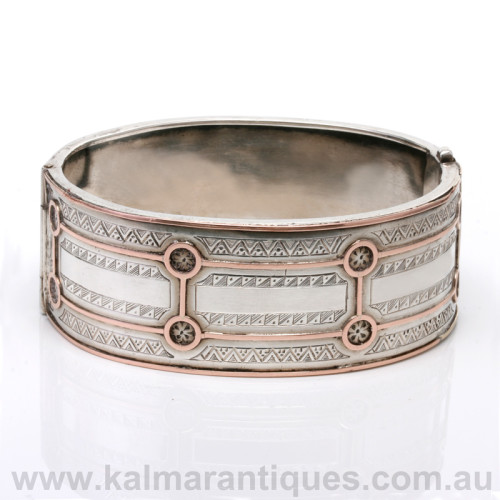 Antique sterling silver and rose gold bangle