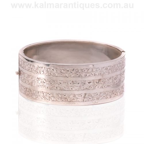 Wide antique sterling silver hand engraved bangle