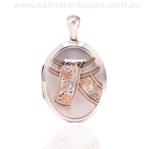 Antique sterling silver and gold locket