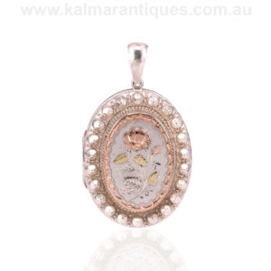 Antique silver and gold photo locket