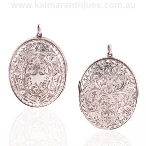 Beautifully hand engraved antique sterling silver locket