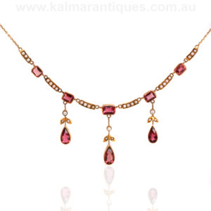 15ct gold antique tourmaline and pearl necklace
