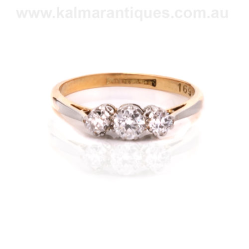 Antique 3 stone diamond engagement ring