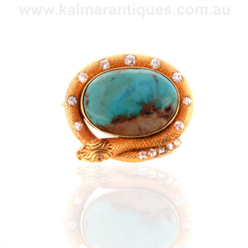 Antique turquoise and diamond brooch Sydney