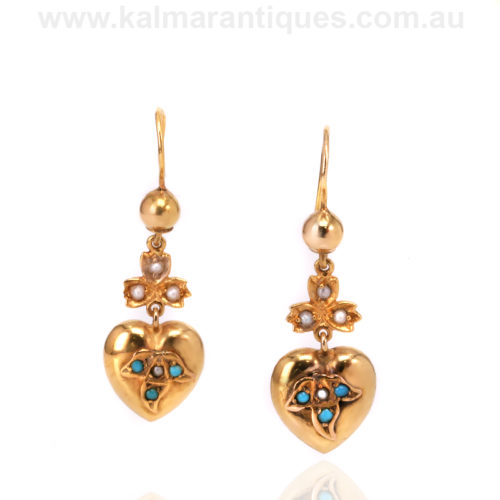 15ct gold antique turquoise and pearl heart earrings