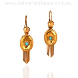 Antique Austro-Hungarian gold antique turquoise drop earrings