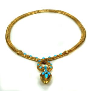 Antique turquoise necklace in original box