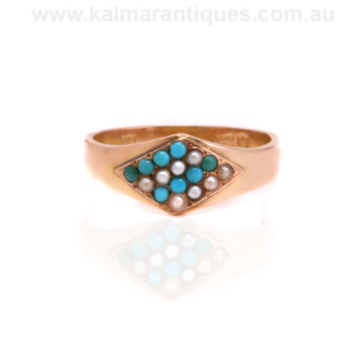 Antique 15ct rose gold turquoise and pearl ring